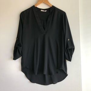 3/$25 SALE Lush Black Roll Tan Sleeve Blouse
